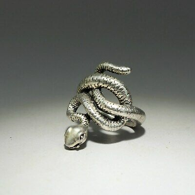 Collectable China Old Miao Silver Hand-Carve Malicious Snake Delicate Decor Ring 2