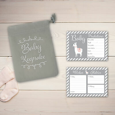 Baby Shower Game - 30 BABY PREDICTION /ADVICE /WISHES CARDS with KEEPSAKE POUCH 2