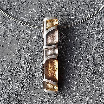 NEU Schmuckset EDELSTAHL HALSKETTE und RING metallic/braun FINGERRING Collier