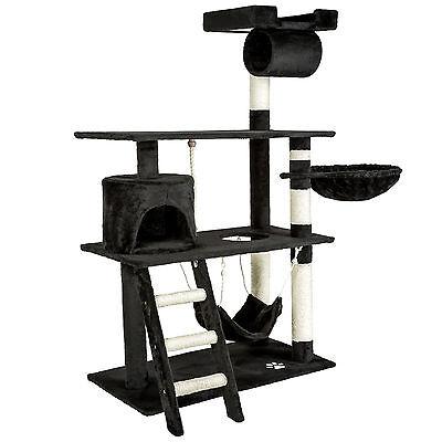 Arbre à chat griffoir grattoir animaux geant avec hamac lit 141 cm hauteur noir 2