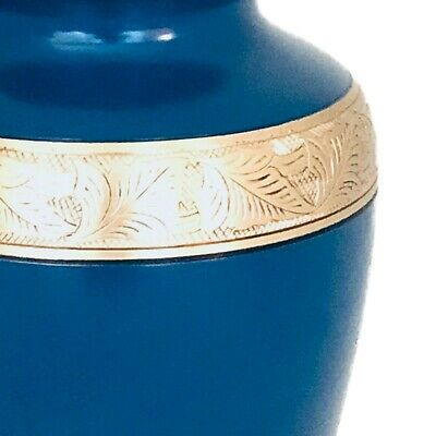 Well Lived® Blue and Brass Adult Cremation Urn for human ashes 3