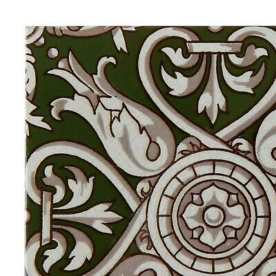 Antique Tile Victorian Aesthetic Gothic Arts Crafts Floral Lea Hearth Green Gray 3