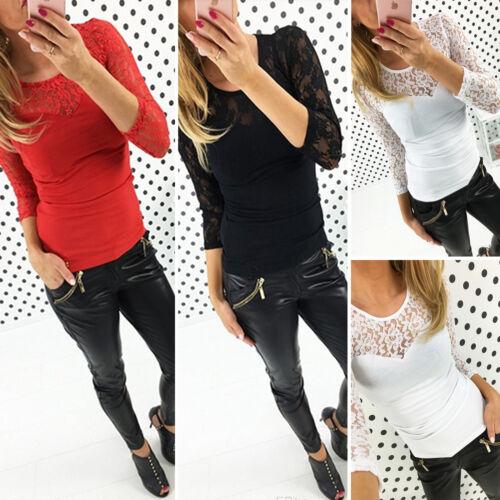 2 von 7 Damen Sexy Spitze Hollow Oberteile Bluse T-Shirt Langarm Party  Tunika Top Club edd2577c70