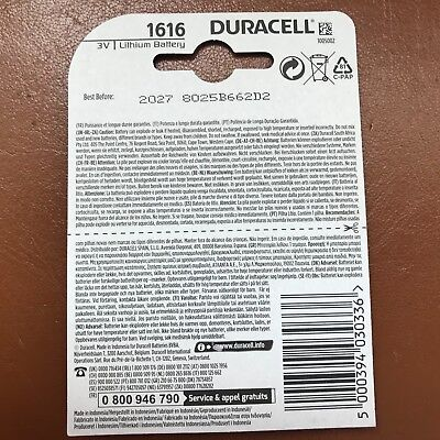 2 x Duracell CR1616 3V Lithium Coin Cell Battery DL1616 1616 LONGEST EXPIRY DATE 3