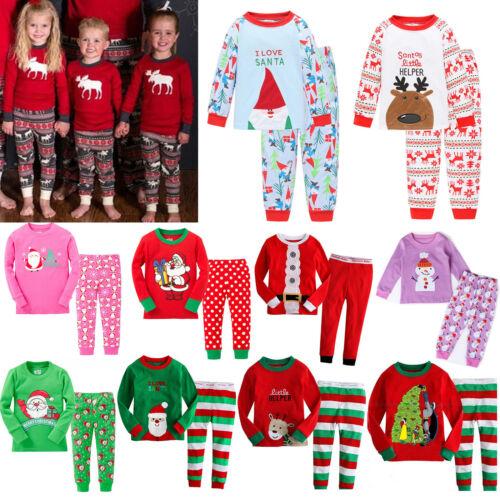 2Pcs Kids Boys Girls Christmas Pajamas Sleepwear Nightwear Xmas PJ's Outfits Set 2