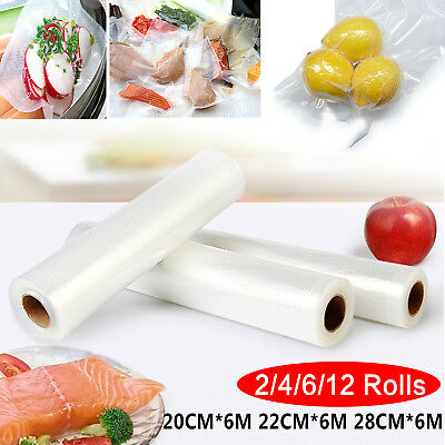 6/10 X Vacuum Food Sealer Seal Bags 6M Rolls Saver Storage Commercial 20 22 28cm 4