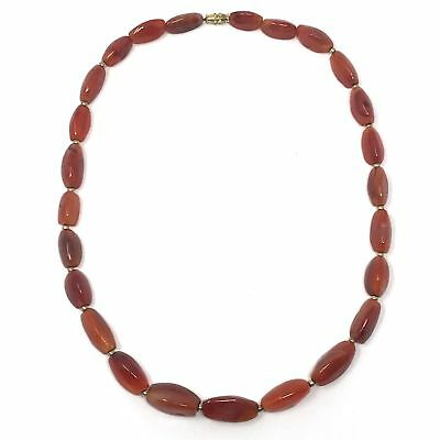 (eVB946)  Tibet : Old Carnelian Beads Necklace (60cm) 2