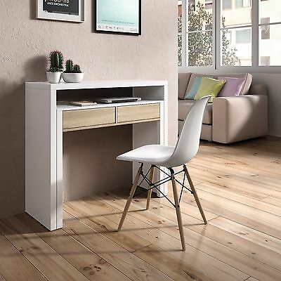 Mesa consola escritorio, mesa extensible, mesa para despacho, Blanco y Roble 2