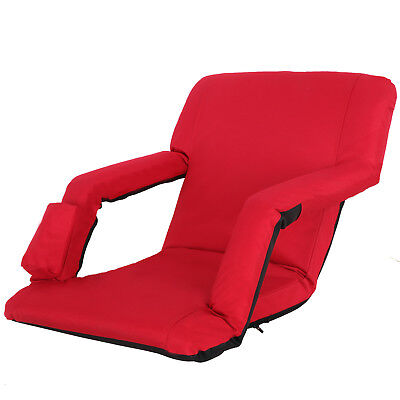 Portable Stadium Seat Chair, Reclining Bleacher Seat Red w/ 5 Assorted Positions 7