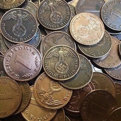 50 Coin Lot Rare WW2 German 1 RP Reichspfennig 3rd Reich Bronze Nazi Coins 5