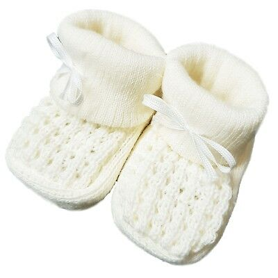 New Baby Babies Boy Girl Knitted Booties White Pink Blue Cream Size NB-3M Shoes 6