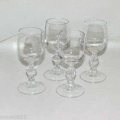 LIQUEUR GLASSES SET OF 4 CORDIAL 2 oz GOBLETS BALL STEM WITH VERTICAL LINES 3