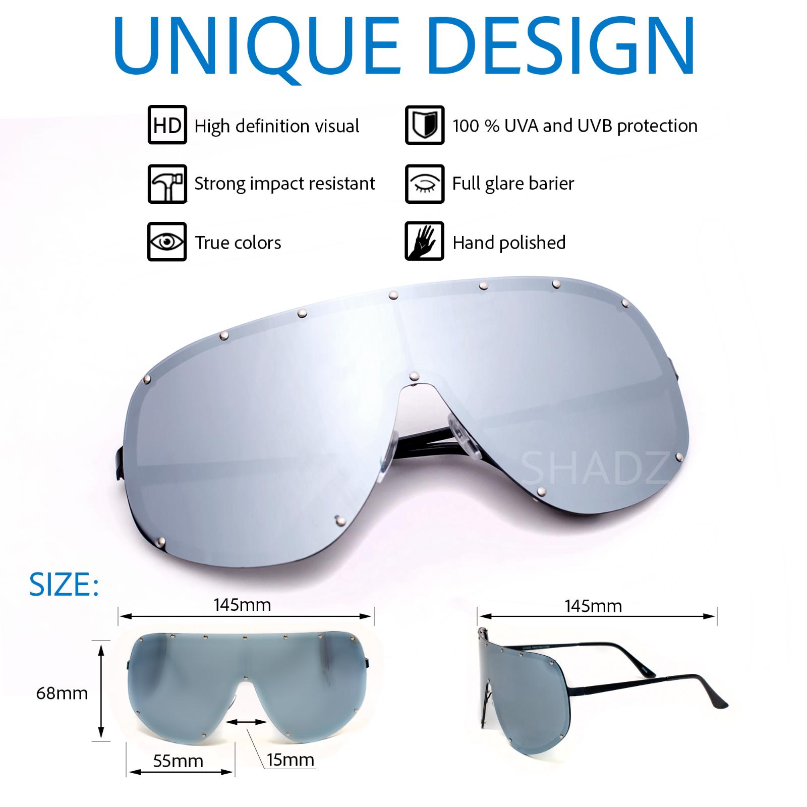 SHIELD OVERSIZED Huge Big MASK STUDDED Metal Large Lens Sunglasses Women