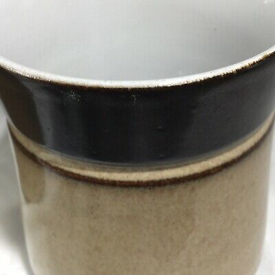 "Pair of Denby Country Cuisine Mugs Coffee Cup Brown  Tan 3 3/4"" Mid Century Look 5"