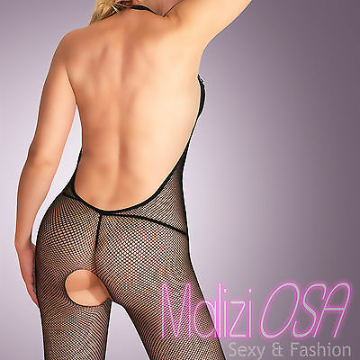 CATSUIT Bodystocking a Rete Aperta Pizzo e Strass Ouvert SEXY Hot Lingerie Body