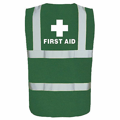 First Aid Printed Green Hi Viz Safety Vest - High Vis Waistcoat Paramedic Medic