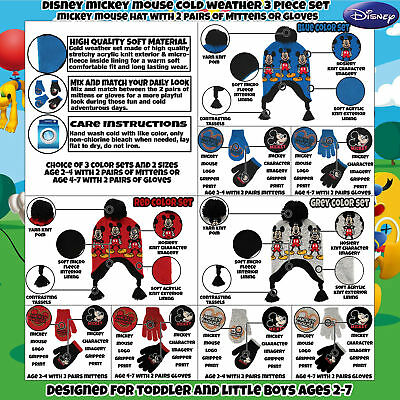 7aca4c7ba00 2 of 11 Disney Little Boys Mickey Mouse Hat and 2 Pair Gloves Mittens Cold  Weather Set