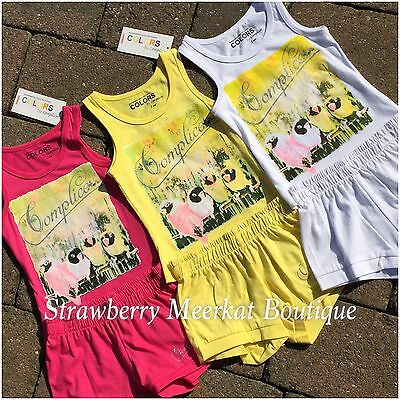 New Girls French Designer Complices Tank Outfit Vest Top Shorts Age 2 3 4 5 6 8 2