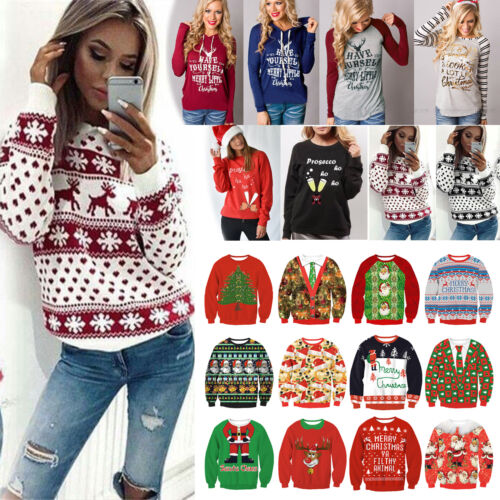 Women Christmas Snowflake Sweater Pullover Jumper Tops Lady Xmas Party Shirt Tee