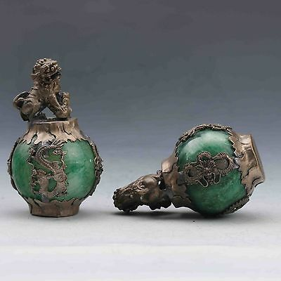 Exquisite Chinese Silver Dragon Inlaid Green Jade Hand Carved Pair Lion Statue 4