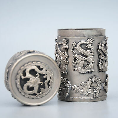 Collectable China Old Miao Silver Hand-Carved Myth Dragon Delicate Toothpick Box 3