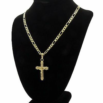 """Men's 14k Gold Plated High Fashion Cross """"012"""" Pendant 5mm 24"""" Inch Figaro chain"""