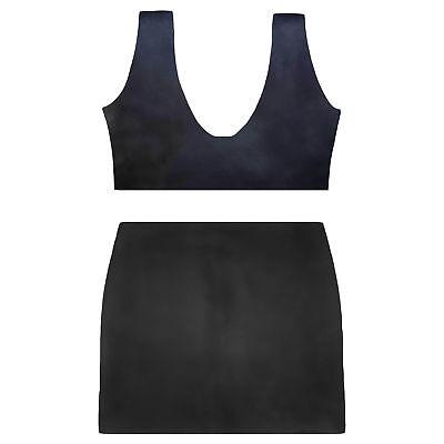 Latex Set aus Rubber (Bustier und Mini) in schwarz, Einheitsgröße 4