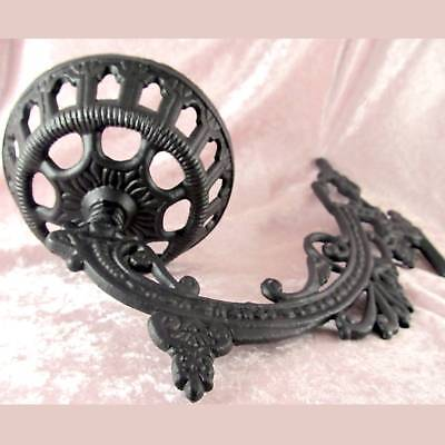 "Victorian style iron WALL BRACKET 11"" for old antique oil or kerosene lamp font 4"
