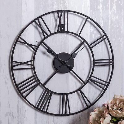 Black metal skeleton wall clock shabby retro chic feature hallway kitchen home 2