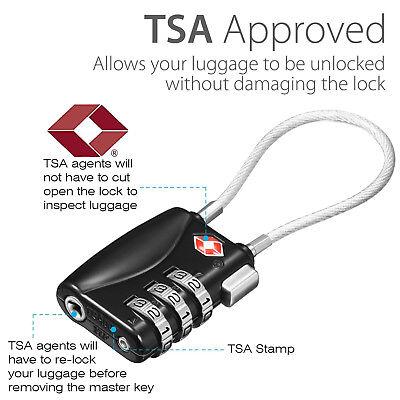 TSA Padlock Travel Smart Combination Locks 3 Digit Password Resettable Security 7