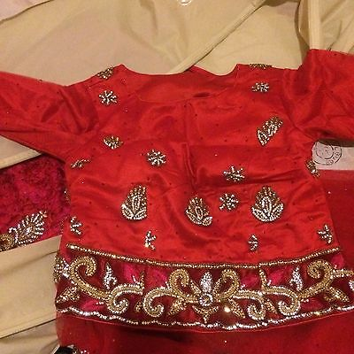 Indian Bridal Wedding Lengha Red Net Pink Thread With Gold & Silver Embroidery 2