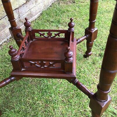 Antique Hall Side Table Victorian Occasional Old Turned Mahogany Stretcher 6