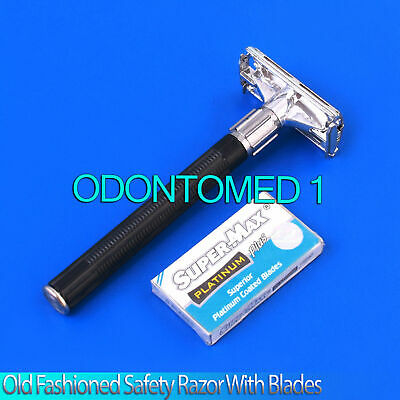 Men's Traditional Classic Double Edge Shaving Safety Razor (Black) + 5 Blades 3