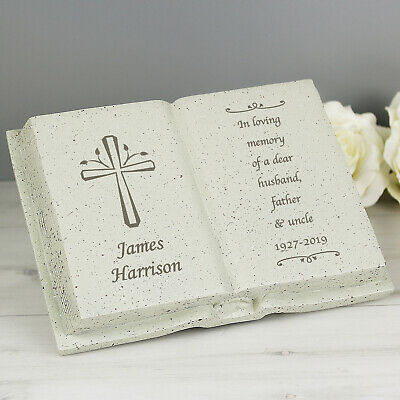 Personalised Memorial Book / Bible Plaque Garden Grave Ornament Cross Rose 6