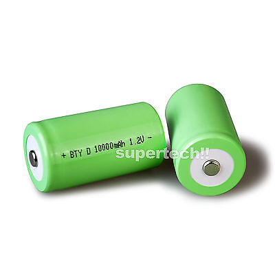 4x 10000mah D Size NI-MH Rechargeable Cell Battery 10000-mah NIMH Batteries 1.2V 3