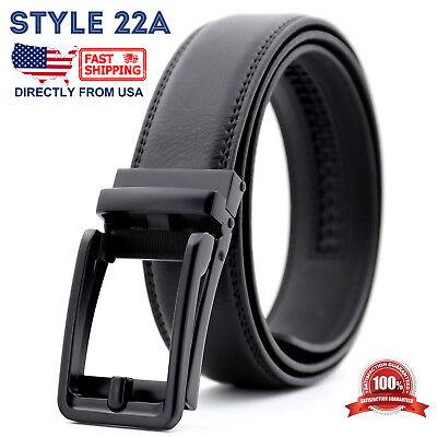 Men's Genuine Leather Adjustable Automatic Buckle Ratchet Golf Dress Belt 3