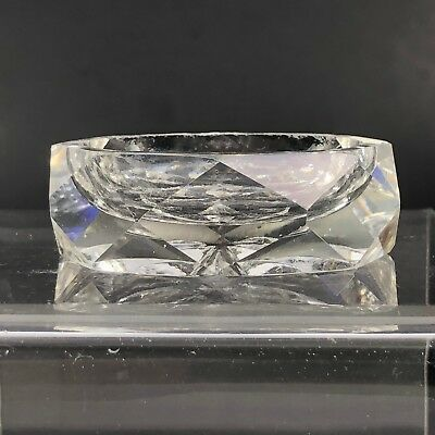 VTG Antique Open Salt Cellar Clear Crystal Glass Cut Open Dish Faceted Diamond 2