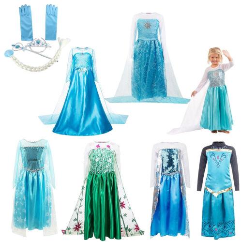 Eiskönigin Elsa Cosplay Mädchen Kinder Prinzessin Kleid Karneval Fasching Kostüm