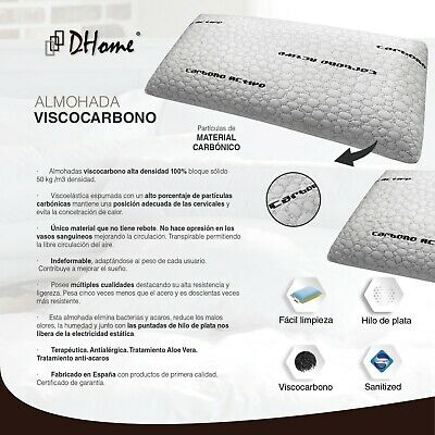 Almohada Almohadas de Viscoelastica, Visco Gel Grafeno Copos Fibra Carbono 6