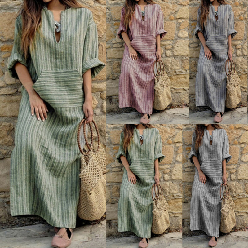 Plus Women Summer Baggy Cotton Linen Casual Loose Long Maxi Dress Boho Kaftan UK 12