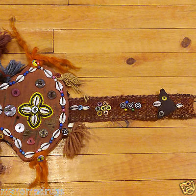 Rare 1'4''x3'3'' Antique 1900-1930s Tribal Ceremonial Wall Hanging Turkey 6