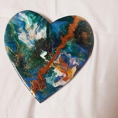 "9"" Resin Heart on Wood - Resin Art - Abstract Art - Resin Painting 3"