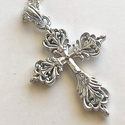 Arthur Court Necklace Aluminium Scroll Cross Med 2.5in Jewelry 18 to 20in Chain 5