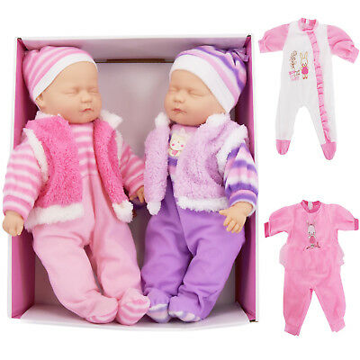 "18"" Twins Dolls Twin Babies Cuddles Baby Girl Boy New Born Doll, 2 Extra Outfits 4"