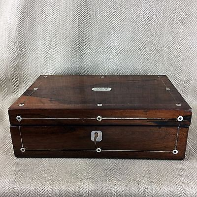 Antique cigar Humidor Victorian Rosewood Box Inlaid Mother Of Pearl 4