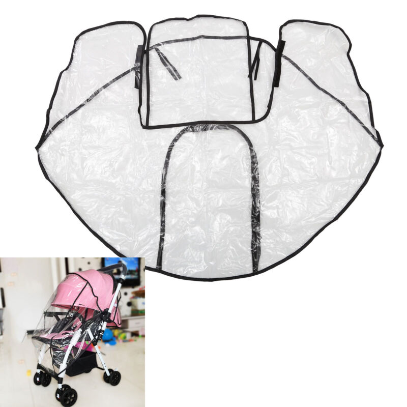 Universal Baby Pushchair Stroller Raincover Clear Rain Cover Pram Buggy w Window 6