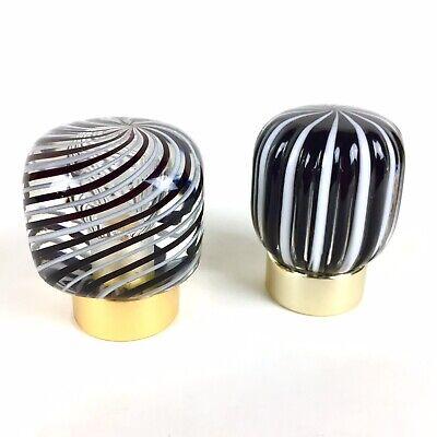 Vtg Italian Murano Glass Shower Sink Vanity Faucet Knobs Decorative Black White 2