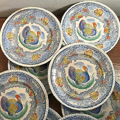 4 of 8 8 Antique Turkey Plates Blue White Staffordshire England Transfer Ware Painted & 8 ANTIQUE Turkey Plates Blue White Staffordshire England Transfer ...