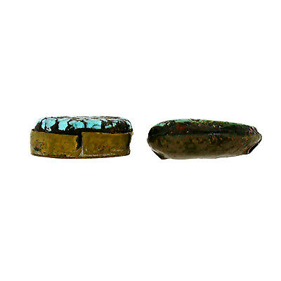 (2557) Antique Pair of Tibetan Turquoises Set in Silver and Copper 5