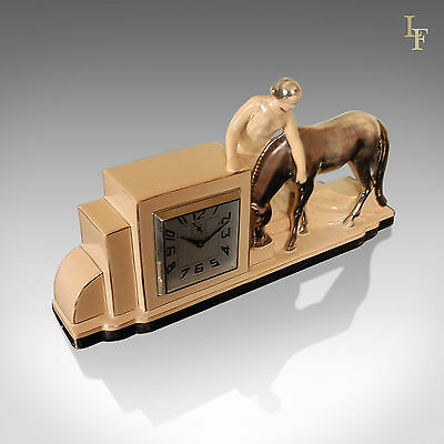 Art Deco Clock and Garnitures, French Odyv Timepiece, Working with Alarm